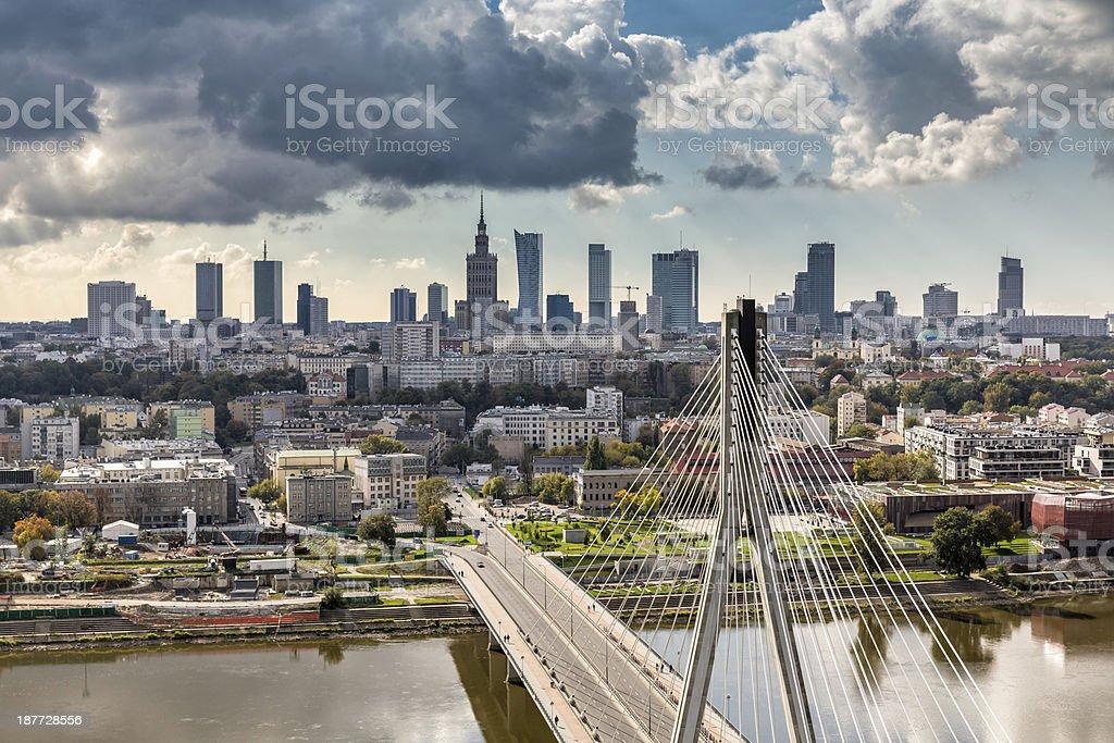 Warsaw skyline behind the bridge stock photo
