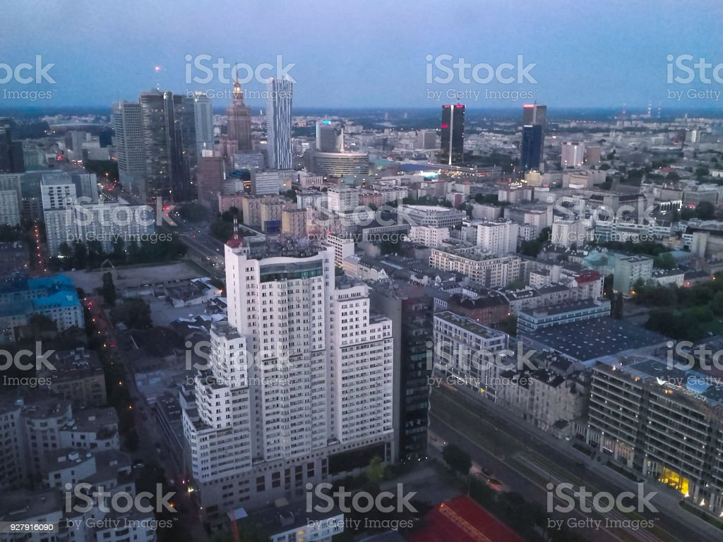 Warsaw skyline from 40th floor stock photo