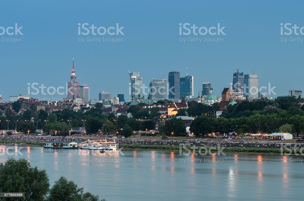 Warsaw skyline in the night over Vistula river, Poland stock photo