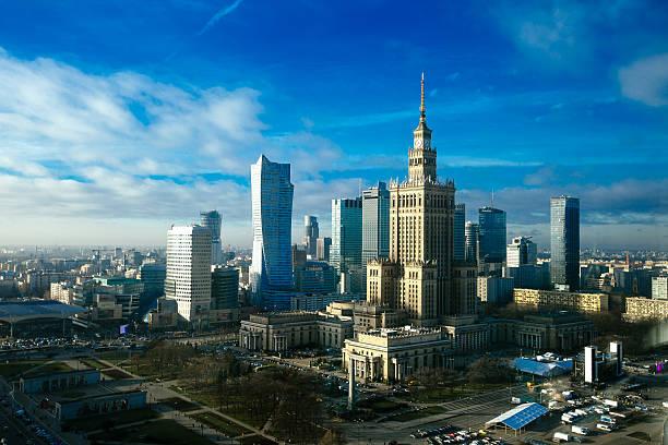 Warsaw skyline. stock photo