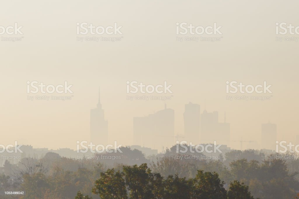 Warsaw, the capital of Poland covered in smog and fog stock photo