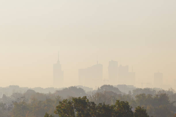 Warsaw, the capital of Poland covered in smog and fog Warsaw, the capital of Poland covered in smog and fog smog stock pictures, royalty-free photos & images