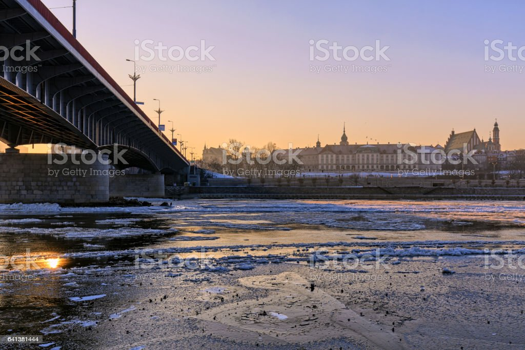 Warsaw, the view of the river from flowing frazil ice stock photo