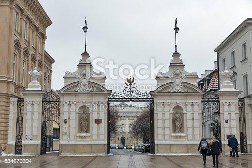 istock Warsaw University main gate, Poland. 834670304