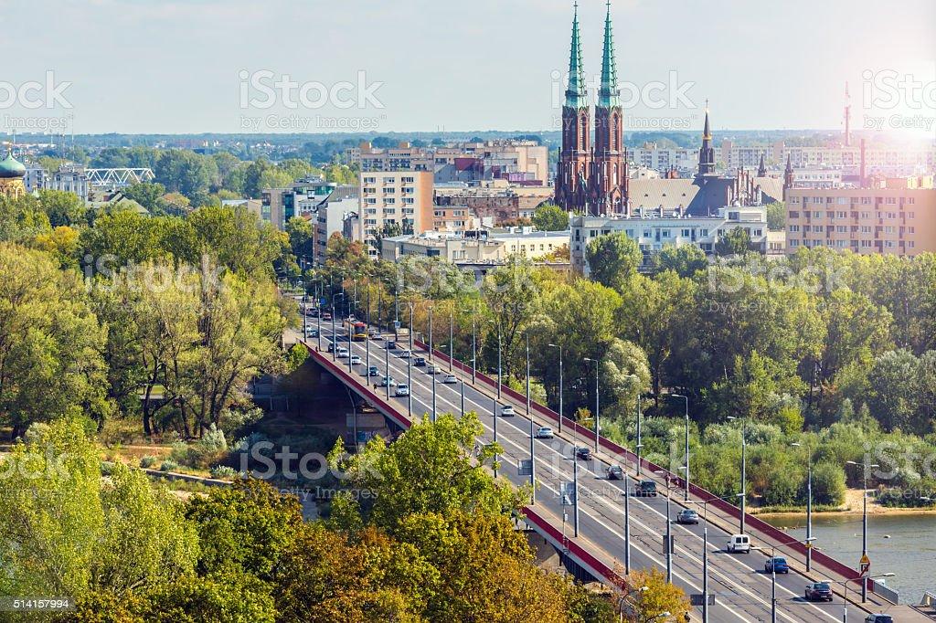 Warsaw wit sun stock photo