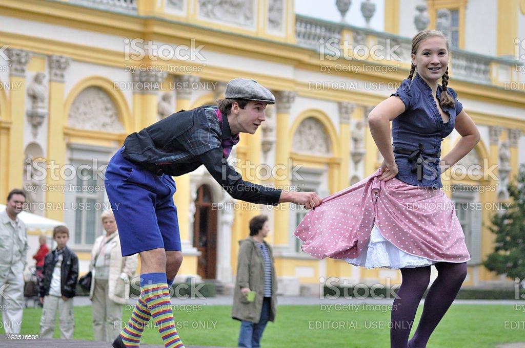 Warsaw's old-time folk dance stock photo