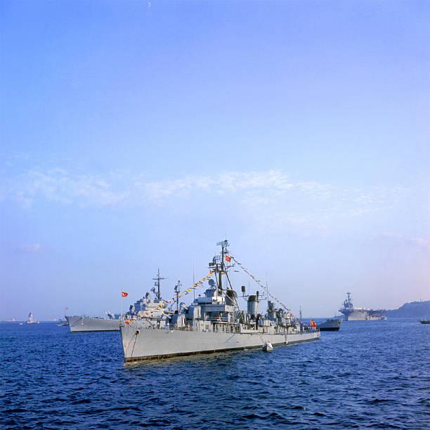 warship destroyer in the sea with the turkish flag - chinese military bildbanksfoton och bilder