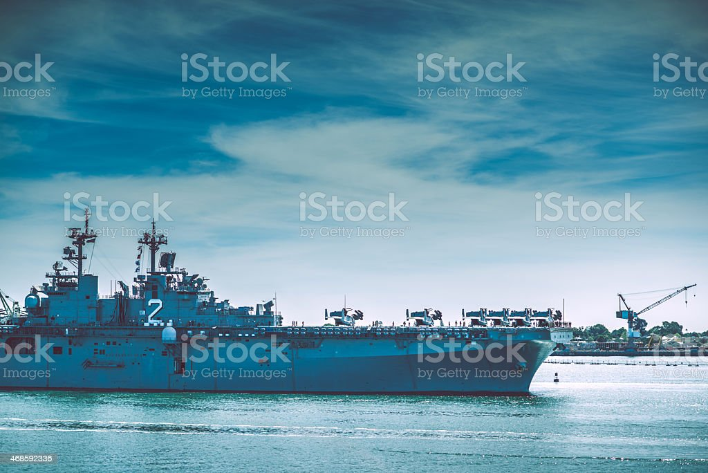Warship in the Bay stock photo