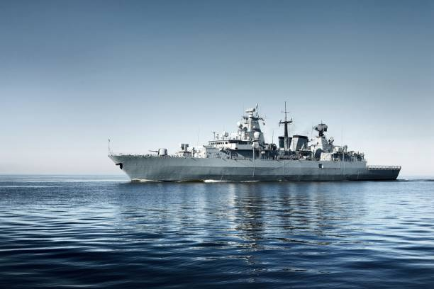 Warship on the sea stock photo