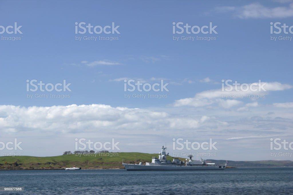 Warship Passing Cumbrae stock photo
