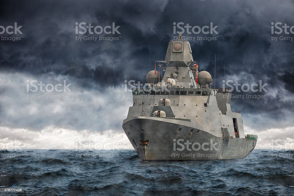 Warship stock photo