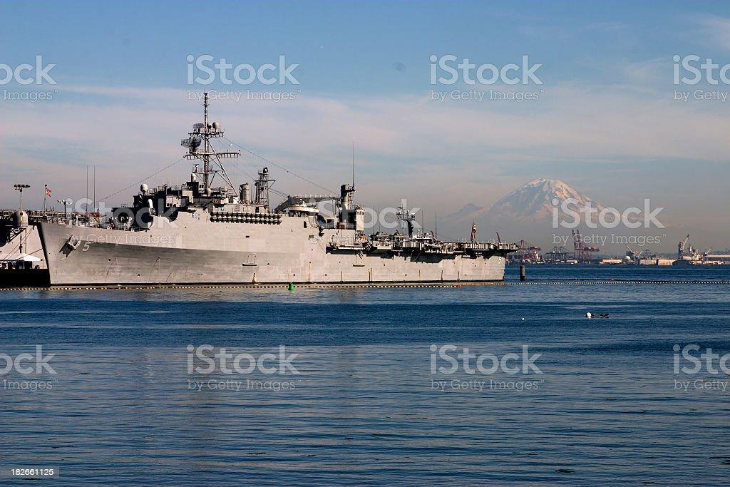 Warship Protecting Seattle stock photo