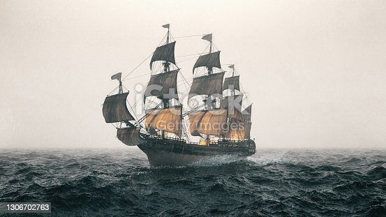 istock Warship Sailing The Sea During A Storm 1306702763