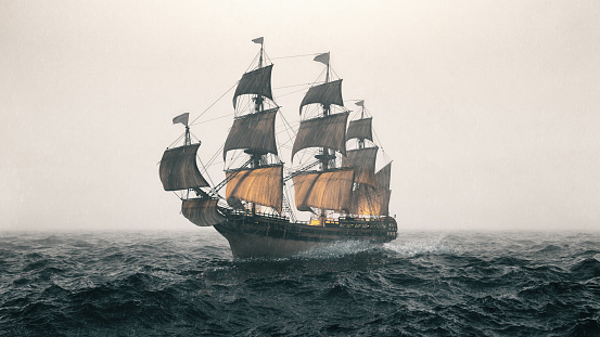 Old warship sailing the sea and struggling in a heavy storm.