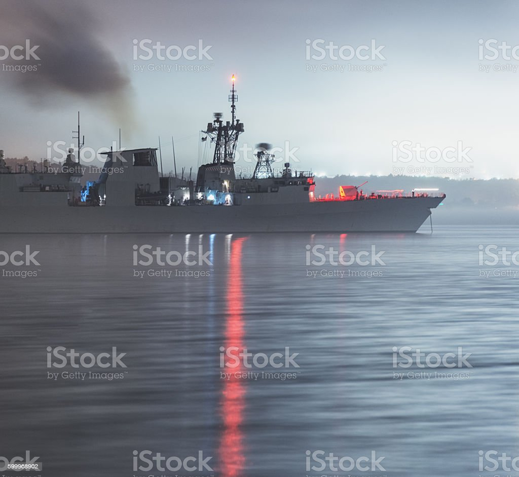 Warship Weighs Anchor stock photo