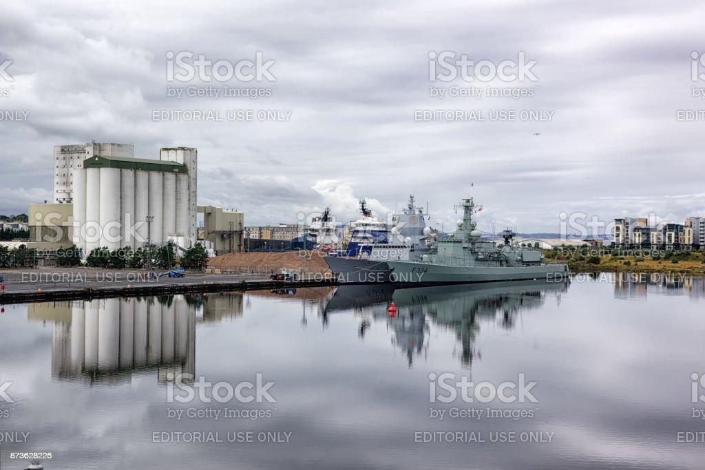 Warships,   Entrance Basin, Edinburgh, Scotland stock photo