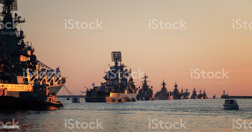 Warships in the wake ranks stock photo