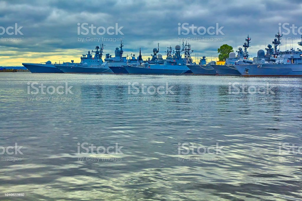 Warships on the roadstead of Kronstadt. St. Petersburg. stock photo