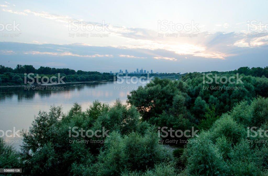 Warszawa skyline stock photo