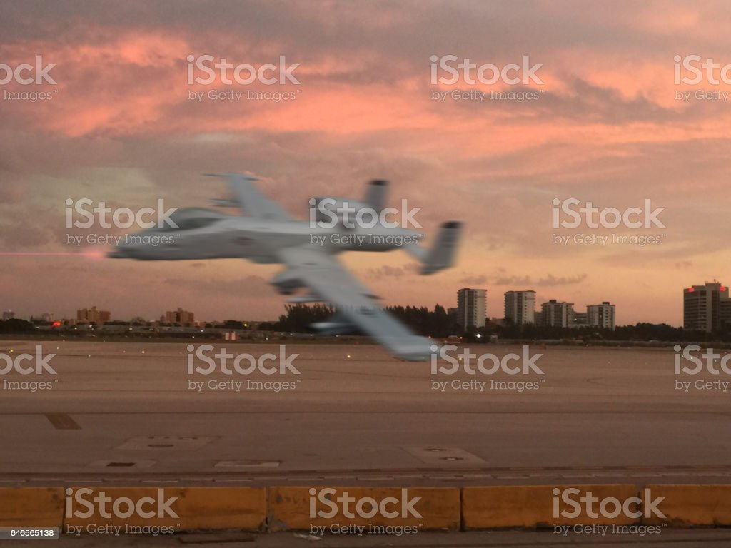 A 10, warthog fly by stock photo