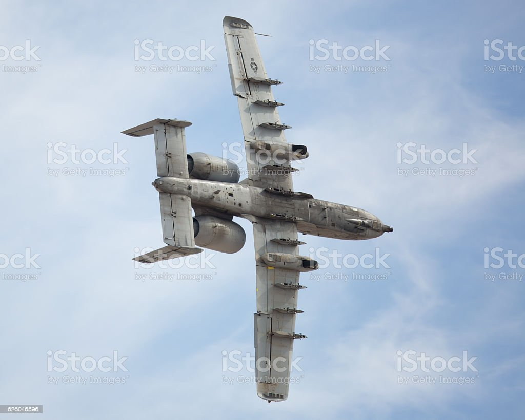 A-10 Warthog in a tight turn stock photo