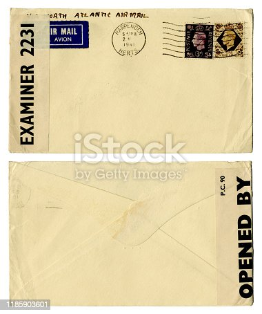 Front and back of an envelope which was posted in 1941 in Harpenden, Hertfordshire, England, during World War Two. It was opened and examined by a censor and was sent 'Via North Atlantic Air Mail'. (All identifying details removed.)