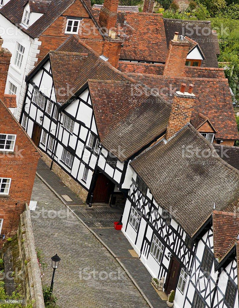 warwick tudor houses stock photo