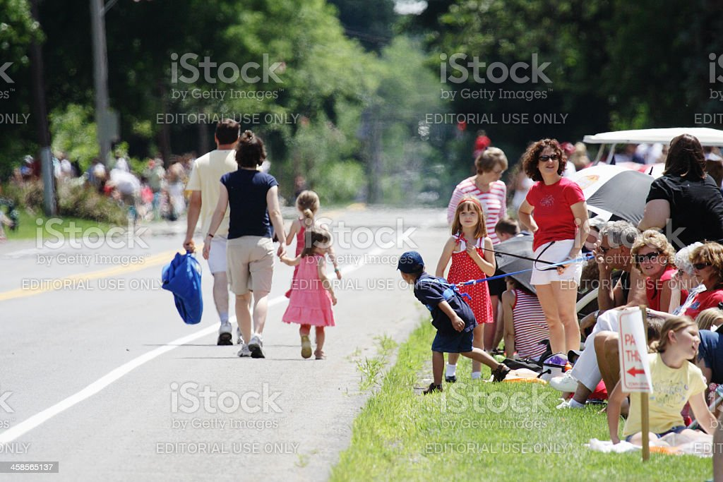 Wary Children Meet at July 4th Parade stock photo