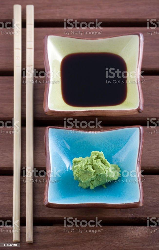 Wasasbi and soy sauce royalty-free stock photo
