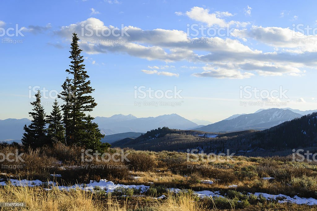 Wasatch Mountains in Late Fall Landscape stock photo