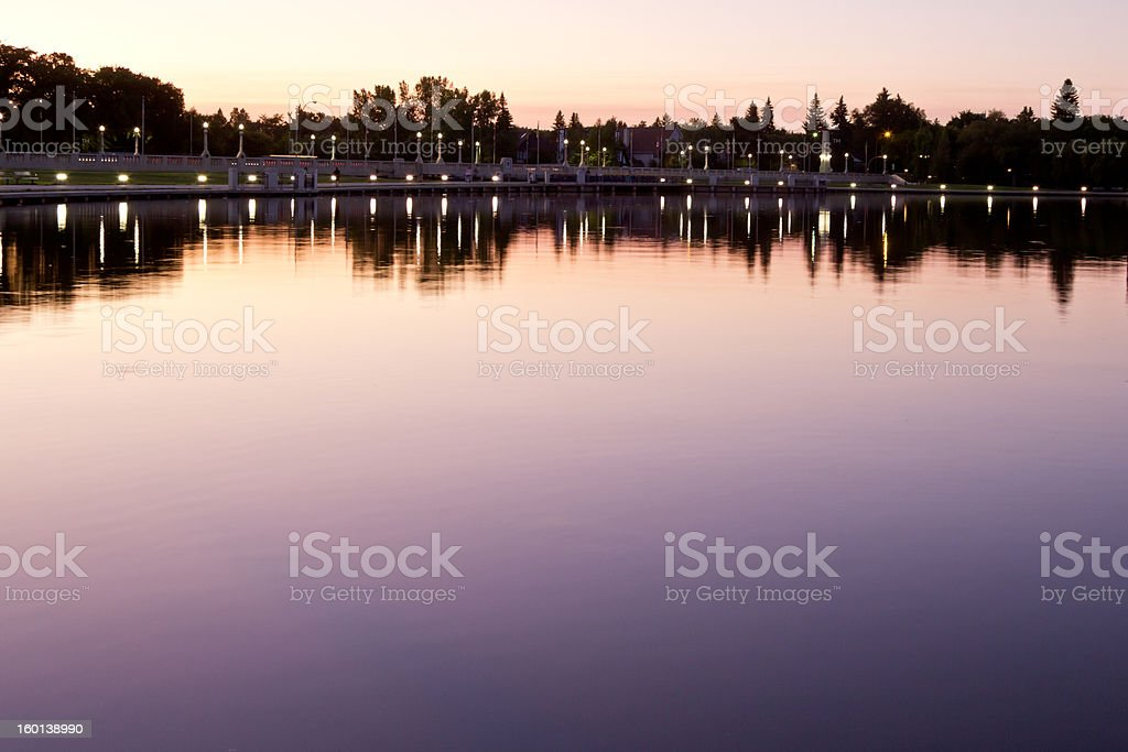 wascana lake at night stock photo
