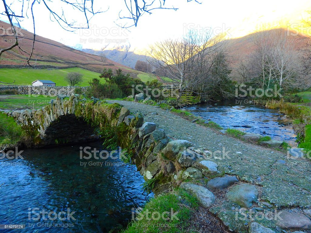 Wasdale Packhorse Bridge Wasdale Head Lake District stock photo