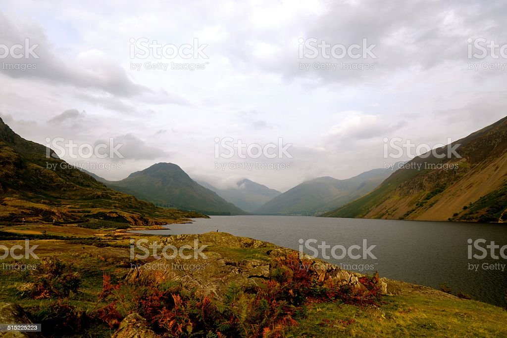 Wasdale Valley with autumn leaves stock photo
