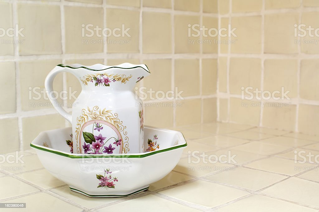 Wash Basin and Water Pitcher stock photo