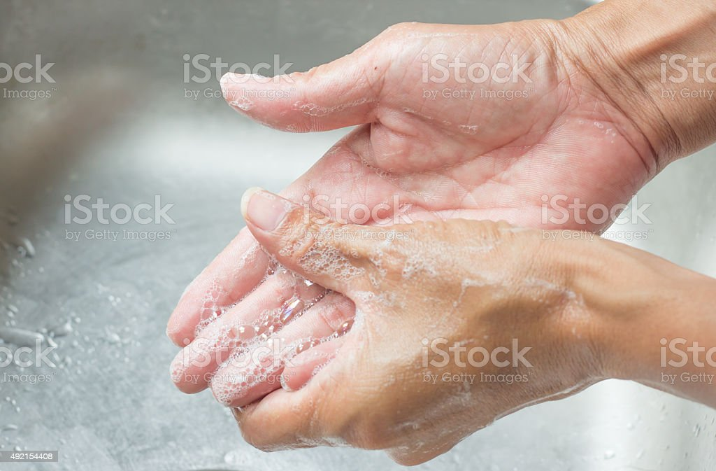 Wash hands stock photo