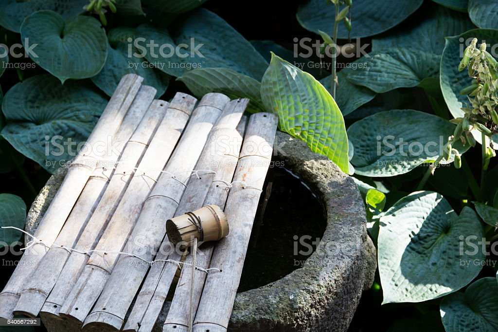 Wash the hand of japanese garden stock photo