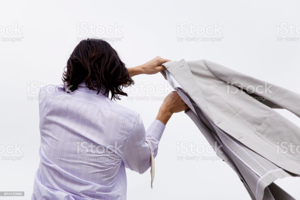 Wash-and-wear coat men royalty-free stock photo