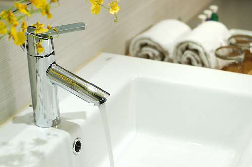 washbasin and faucet in bathroom