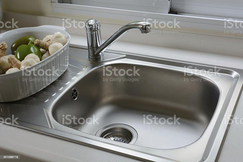 washbasin in a kitchen stock photo