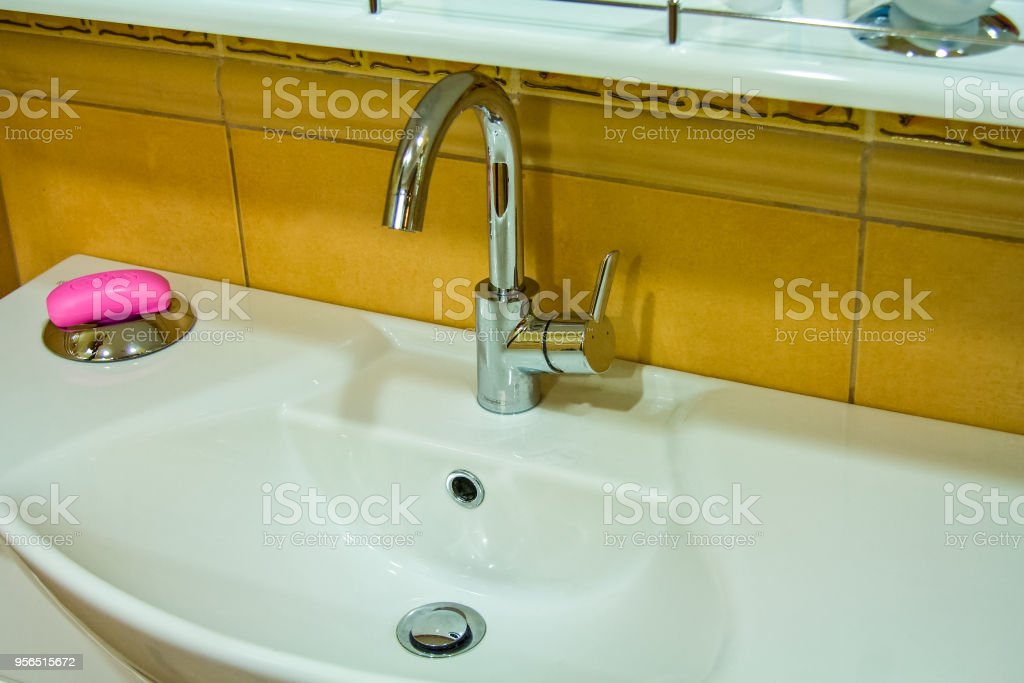 washbasin with a curbstone stock photo