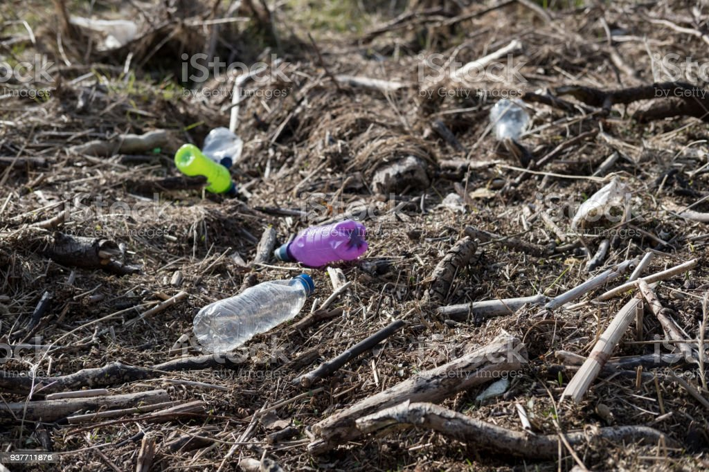 Washed up plastic bottles on the banks of the River Lune near Lancaster. stock photo