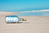 Washed-up bottle on beach with