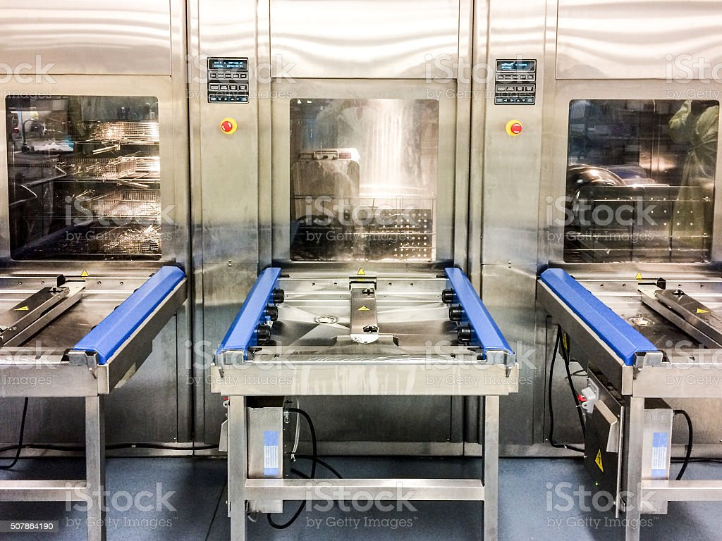 Washer desinfector for surgical instruments in hospital stock photo
