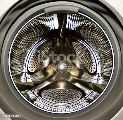 An inside view of a washing machine