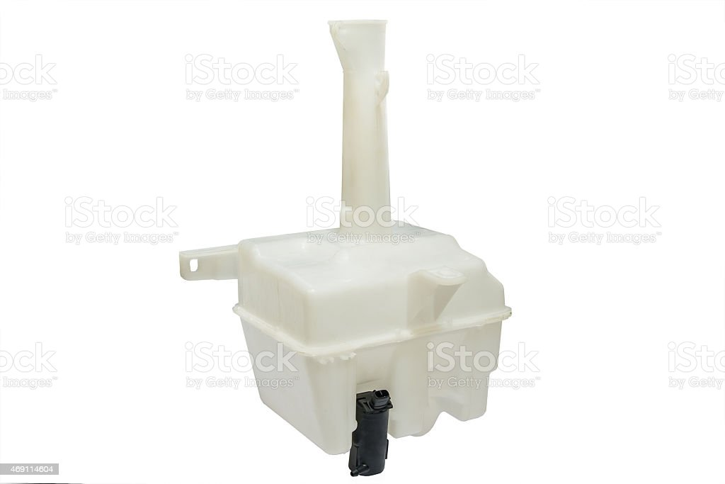 Washer reservoir Plastic tank washer fluid glass of the car with the engine on a white background 2015 Stock Photo