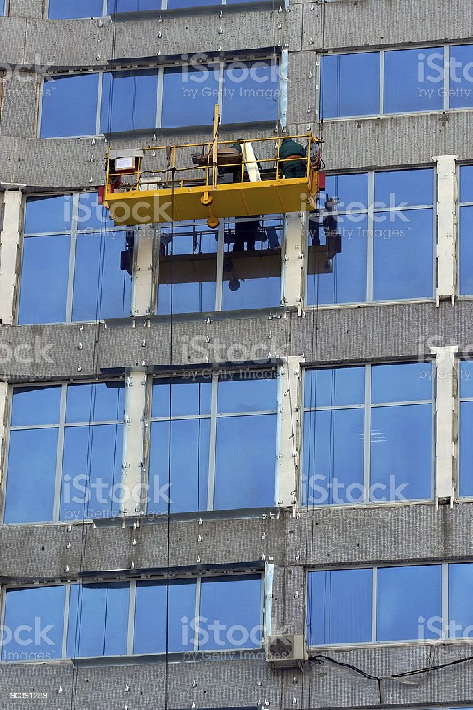 Washermen of windows royalty-free stock photo