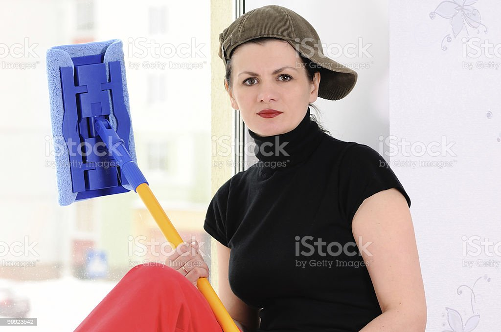 washerwoman of windows royalty-free stock photo