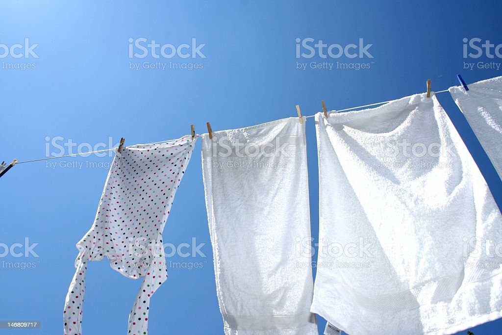 Washing against a blue sky stock photo