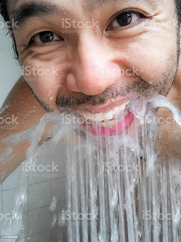 Washing body and rinse the mouth stock photo