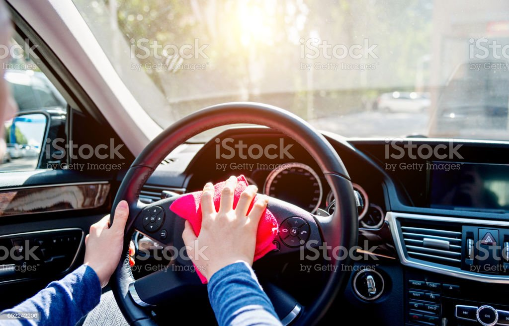 Washing car interior stock photo